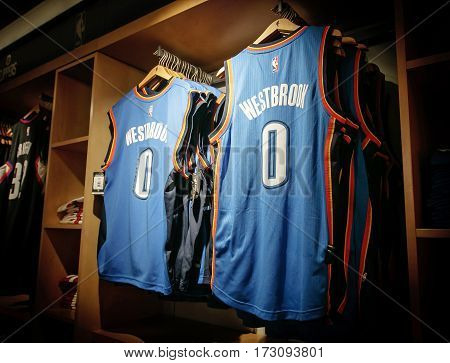 New York February 21 2017: Replica jerseys of Westbrook of Oklahoma City Thunder on sale in the NBA store in Manhattan.