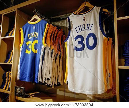 New York February 21 2017: Replica jerseys of Curry of Golden State Warriors on sale in the NBA store in Manhattan.