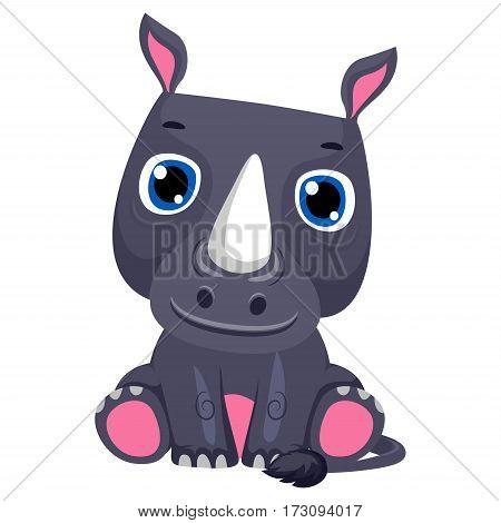 Vector Illustration of a Cute Rhinoceros Cartoon