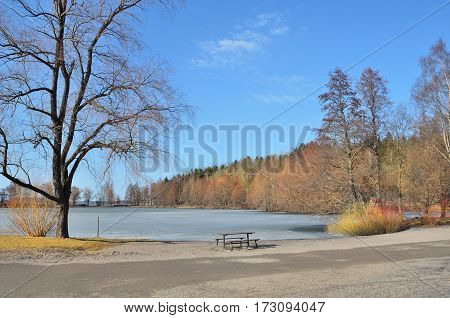 Finland. Beautiful park of Lahti in a sunny spring day