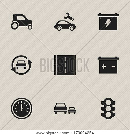 Set Of 9 Editable Vehicle Icons. Includes Symbols Such As Accumulator, Highway, Speed Control And More. Can Be Used For Web, Mobile, UI And Infographic Design.