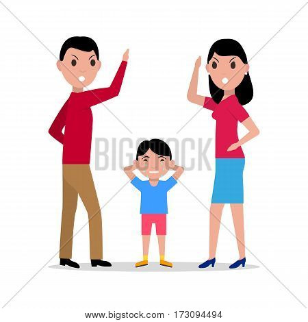 Vector illustration cartoon angry parents swearing child. Isolated white background. Dispute man woman. Flat style. Quarrel in family. Girl boy squabble. Unhappy family squabbling. Divorce of parents.