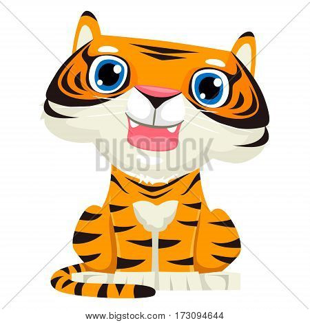 Vector Illustration of a Cute Baby Tiger