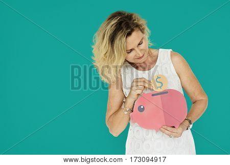 Senior Woman bend Holding Illustration