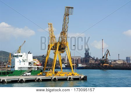 Piombino italy - 10 July 2011: The commercial port of Piombino on Italy