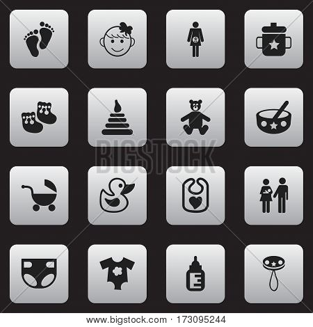 Set Of 16 Editable Kid Icons. Includes Symbols Such As Tower, Nursing Bottle, Pinafore And More. Can Be Used For Web, Mobile, UI And Infographic Design.
