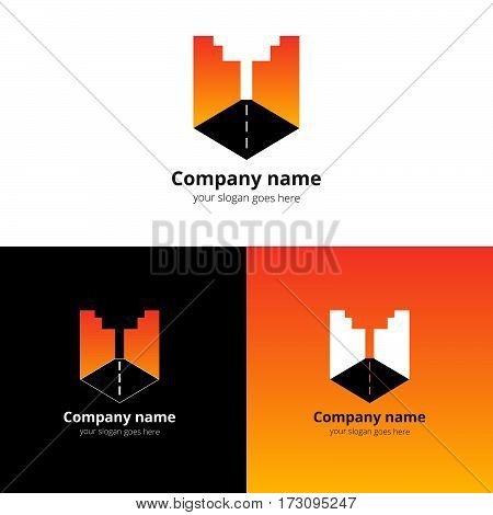 City, town, buildings, industrial symbol in the letter U. Logo, icon, sign, emblem vector template. Abstract symbol and button with orange-red gradient for business, buildings, town firm or company.
