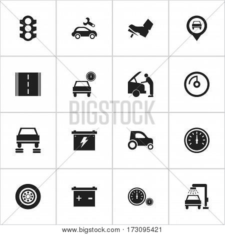 Set Of 16 Editable Traffic Icons. Includes Symbols Such As Auto Repair, Speedometer, Stoplight And More. Can Be Used For Web, Mobile, UI And Infographic Design.