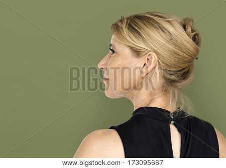 Senior Adult Woman Smiling Happiness Rear View Studio Portrait