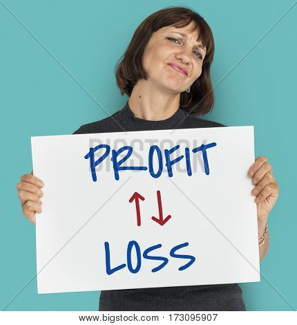 Profit Loss Arrow Up Down Word