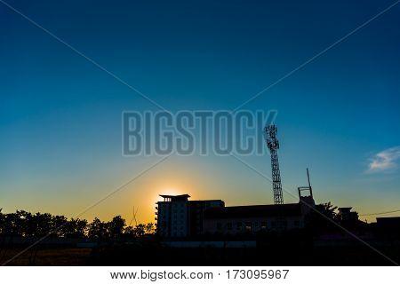 Image Of Tele-radio Tower With Blue Sky .