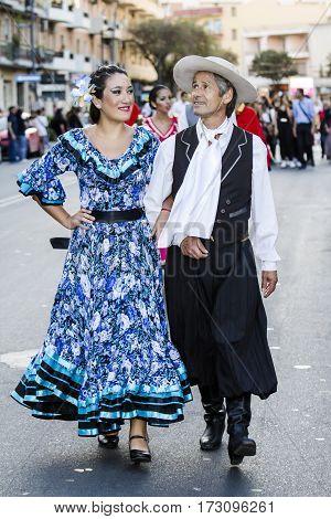 QUARTU S.E., ITALY - July 15, 2016: 30 Sciampitta - International festival of folklore - Grupo de danzas albricias of San Martin de los Andes (Argentina) -Sardegna