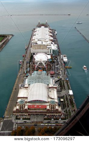 Nav Pier Chicago, Illinois Aerial Elevated View Full Length