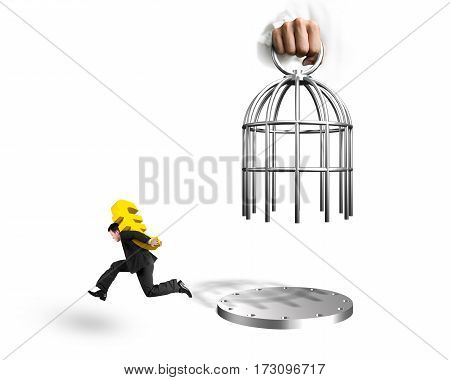 Hand Opening Cage And Man Carrying Dollar Sign Running