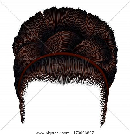 babette of hairs with pigtail dark brown colors . trendy women fashion  beauty style . realistic 3D . retro  hairstyle .