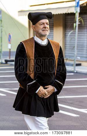 SELARGIUS, ITALY - September 11, 2016: Former marriage Selargino - Portrait of a man in traditional Sardinian costume - Sardinia