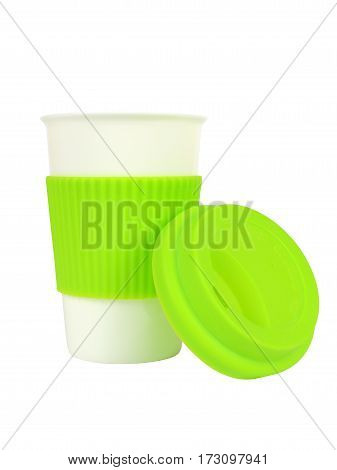 Porcelain Cup With Thermo Sleeve And Lid