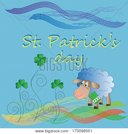 Clover and lamb with a flag. St.Patrick 's Day. Vector Image. Design for a holiday greeting card, greetings, greetings, thematic illustrations.