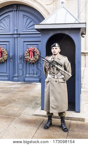 Grand Duchy of Luxembourg Luxembourg- January 032017: The guard on the post