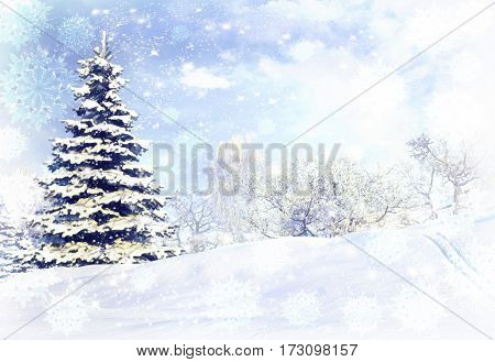 Winter forest after a snow storm blizzard. 3D illustration