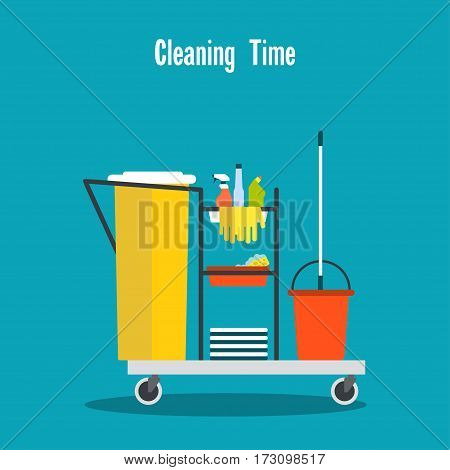 Cleaning equipment Vector illustration Janitor's trolley with cleaning equipment and household chemicals Flat design