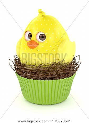 3D Render Of Easter Chick In Muffin Nest