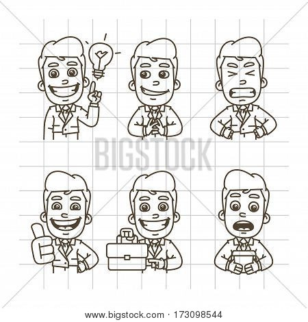 Vector Illustration, Businessman Holding Cunning, Evil, Holding Suitcase, Showing Thumbs Up, Come Up with Idea, Format EPS 10