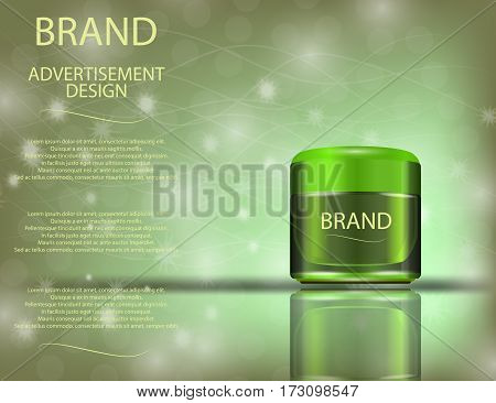 Facial Cream with Aloe Vera for Skin on the sparckling Background Concept Skin Care Cosmetic. Mock-up of cream jar. Blank template of packaging for cosmetic product.