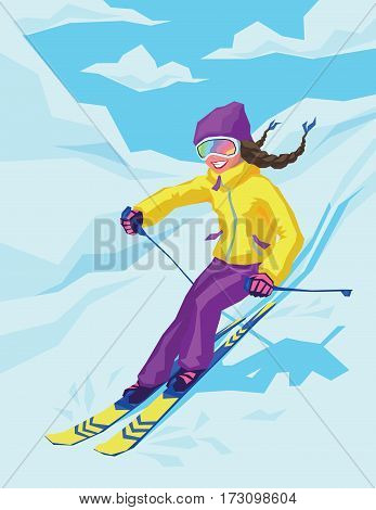 Young active woman skiing in mountains. Female skier on the background of snowy landscape. Ski race for adults. Winter and snow sport in alpine resort. Vector illustration for your design.