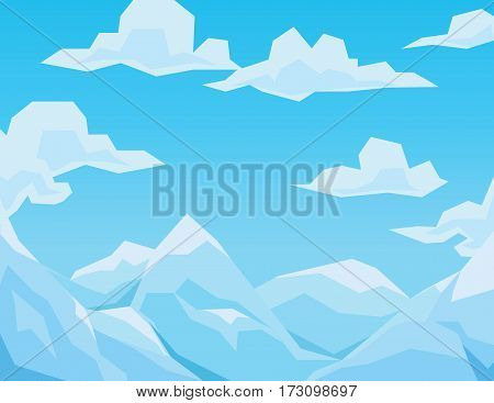 Winter scene with mountains landscape, blue sky and clouds. Vector illustration in faceted flat style. Background for your artworks, design and prints.