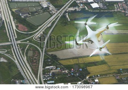 aerial view of drone photography over land transportation background