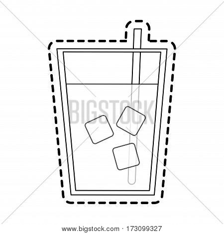 clear beverage with ice and straw icon image vector illustration design