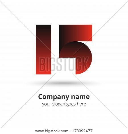 15 logo vector year concept. Anniversary number one five,1 and 5. Monogram numbers thirteen celebrating. Logotype with red gradient color.