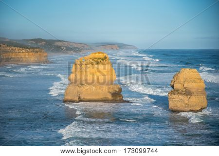 Coastal rock stacks of The Twelve Apostles near Great Ocean Road natural landmark and tourist attraction of Victoria Australia