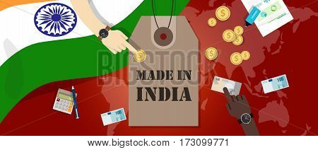 Made in India price tag illustration badge export patriotic business transaction vector