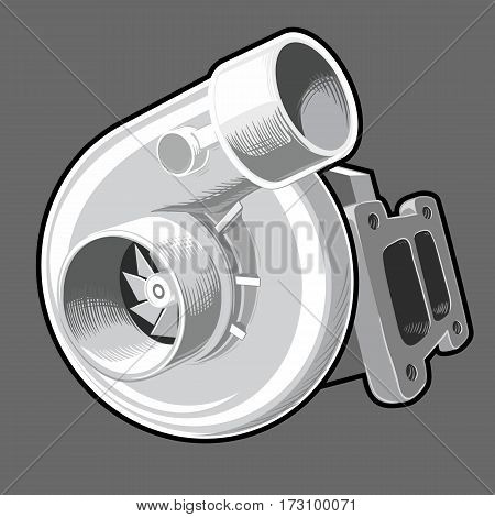 Turbo charger on isolated grey background, part for fast sport cars tuning.