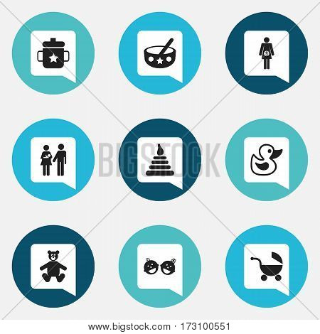 Set Of 9 Editable  Icons. Includes Symbols Such As Lineage, Spoon, Stroller And More. Can Be Used For Web, Mobile, UI And Infographic Design.