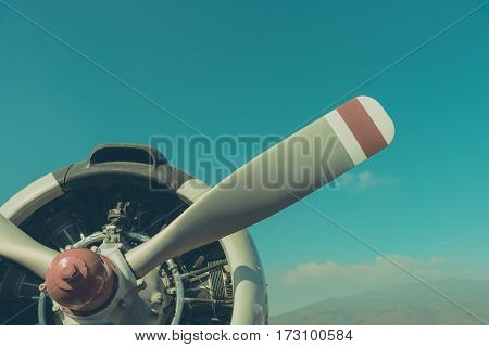 Vintage Tone Image Of Plane Fan And Engine .