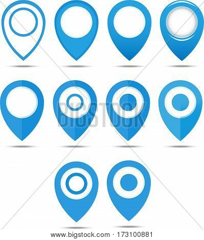 Set Of 12 Blue Geo Pins. Geolocation Signs Set. Geolocate And Navigation Sign.