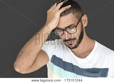 Middle Eastern Man Stress Thinking Studio Portrait