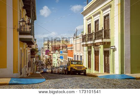 Colorful houses and street of Old San Juan Puerto Rico