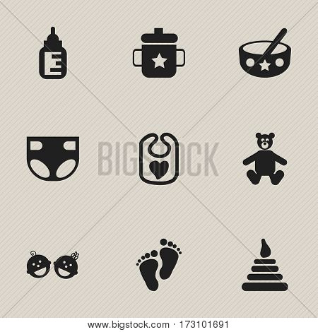 Set Of 9 Editable  Icons. Includes Symbols Such As Nursing Bottle, Nappy, Teddy And More. Can Be Used For Web, Mobile, UI And Infographic Design.