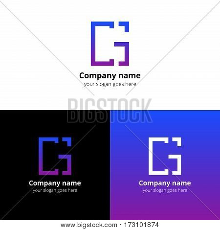 Letter GC logo, icon flat and vector design template. Trend violet-pink gradient color on white and black background. Minimalism monogram symbol in vector for company.