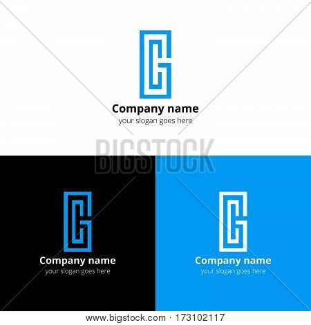 Letter CG logo, icon vector design template. Blue color on white and black background. Minimalism monogram symbol in vector for company.