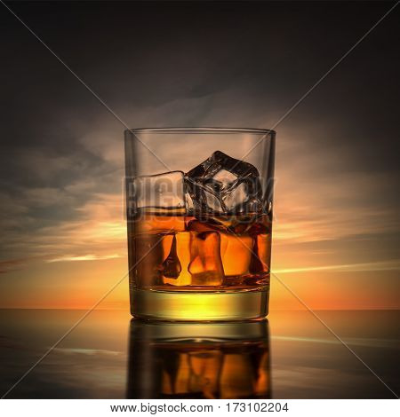A glass of whiskey with ice on a sunset background.