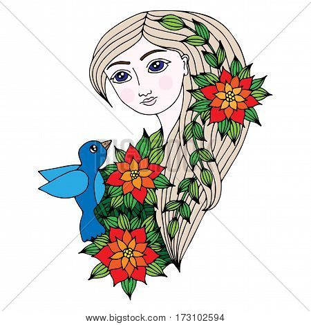 Colorful portrait of a beautiful girl with long hair with bird flower and leaves. Mono color black line art element for adult coloring book page design.