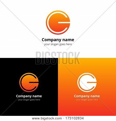 Letter CG logo icon flat and vector design template. Trend orange gradient color on white and black background. Minimalism monogram symbol in vector for company.