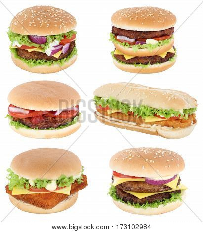 Hamburger Isolated Collection Set Cheeseburger Tomatoes Lettuce Cheese