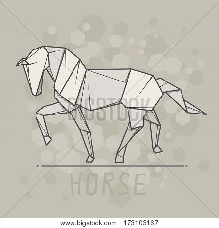 Vector simple illustration paper origami of horse.