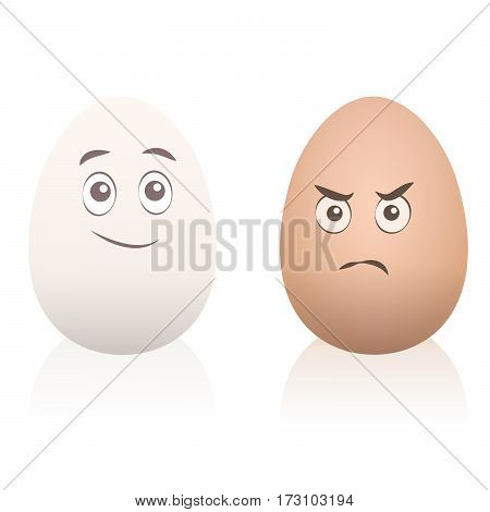 Comic eggs with faces - one is happy, one is angry. Isolated vector cartoon illustration on white background.